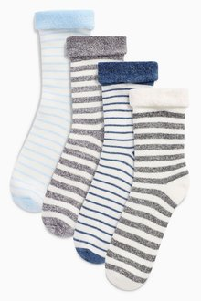 Next Stripe Terry Turn Over Socks Four Pack (Younger)
