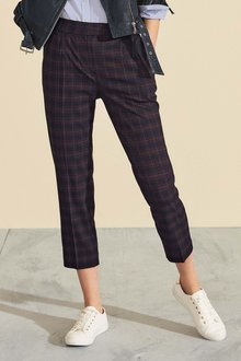 Next Check Taper Trousers - Petite