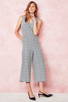Next Print Cropped Jumpsuit - Petite