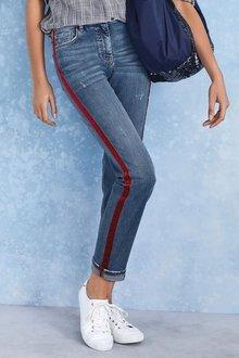 Next Velvet Side Stripe Ankle Straight Jeans