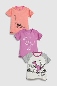 Next Sketch Dino T-Shirts Three Pack (3mths-6yrs)
