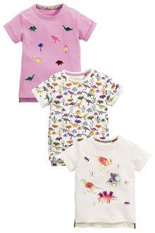 Next Dino Print T-Shirts Three Pack (3mths-6yrs)