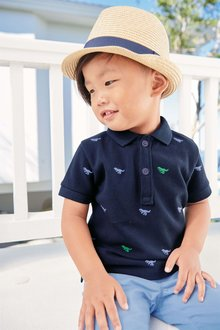Next Short Sleeve Embroidered Dino Polo (3mths-6yrs)