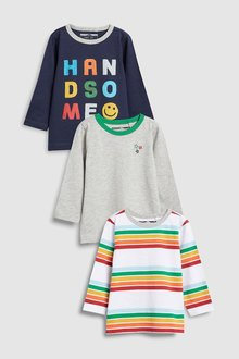 Next Rainbow Slogan T-Shirts Three Pack (3mths-6yrs)
