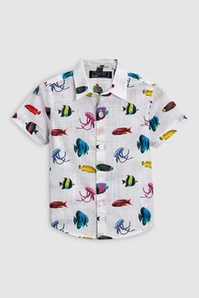 Next Fish Print Shirt (3mths-6yrs)