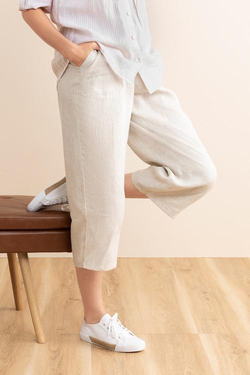 Capture Linen Wide Leg Crop Pant