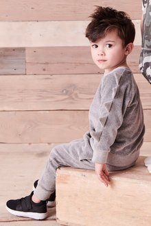 Next Spike Sleeve Velour Crew And Jogger Set (3mths-6yrs)