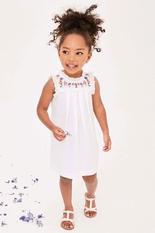 Next White Embroidered Dress (3mths-6yrs)
