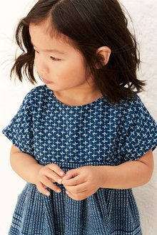 Next Navy Embroidered Dress (3mths-6yrs)