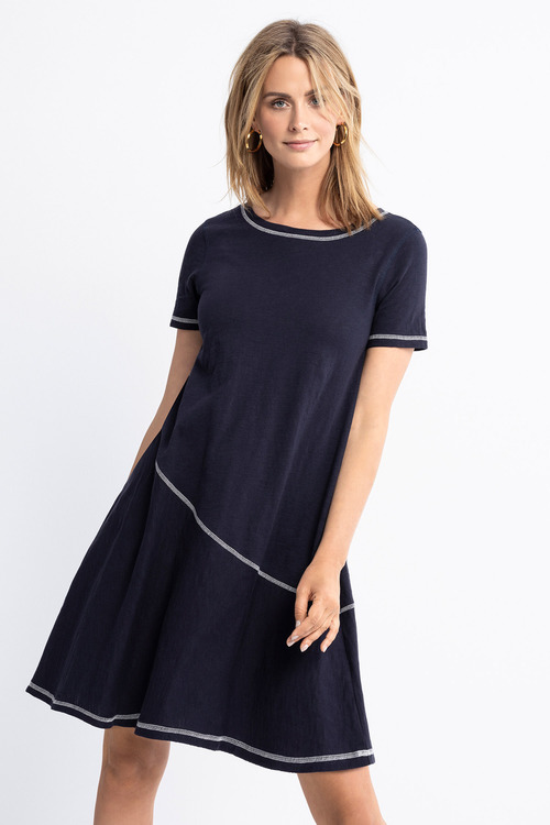 Capture Contrast Stitch Swing Dress