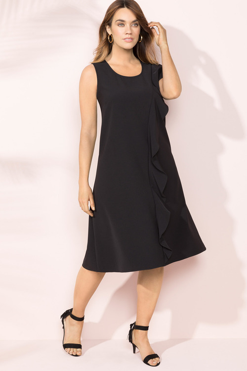Plus Size - Sara Asymmetic Ruffle Dress