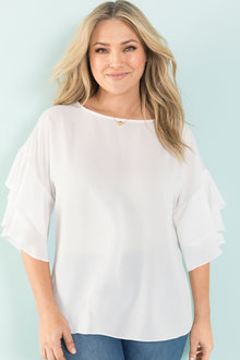 Plus Size - Sara Ruffle Sleeve Top