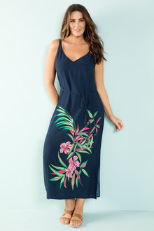 Plus Size - Sara Placement Print Maxi