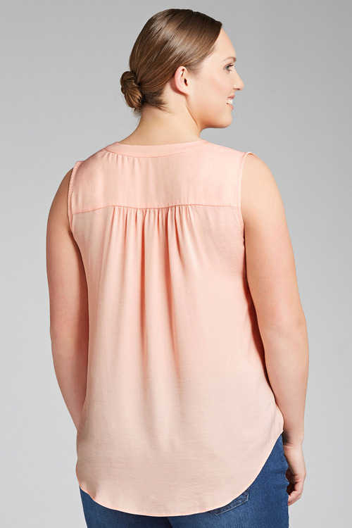 Plus Size - Sara Hammered Satin Top