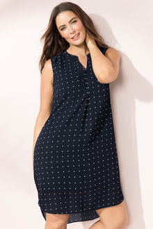 Plus Size - Sara V Neck Placket Dress