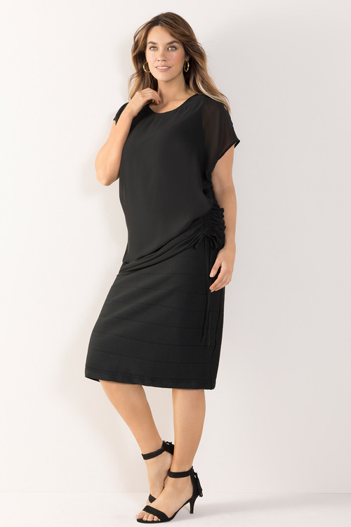 Plus Size - Sara Rouched Overlay Dress
