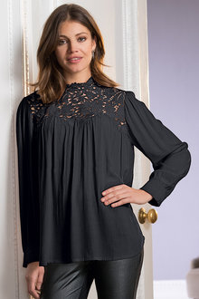 Together Victoriana Lace Yoke Top