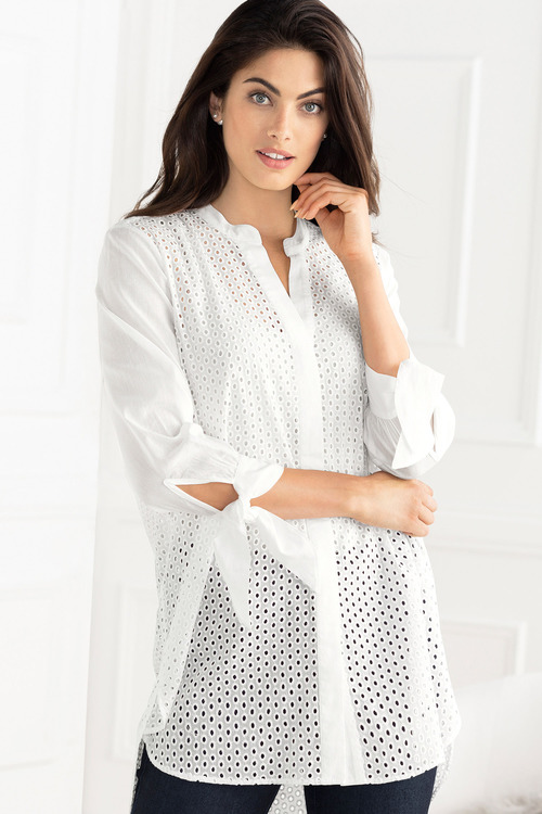 Grace Hill Broidery Tie Sleeve Shirt