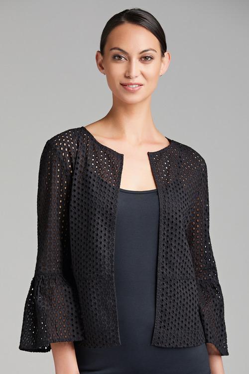 Grace Hill Broidery Ruffle Sleeve Jacket