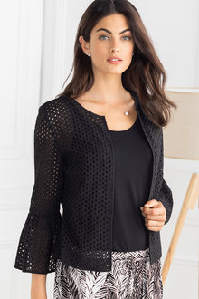 Grace Hill Broidery Ruffle Sleeve Jacket