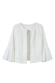 Grace Hill Broidery Ruffle Sleeve Jacket - 213460