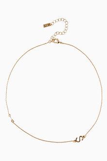 Next Gold Tone Asymmetric Initial Necklace - 213617