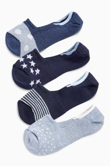 Next Pattern Invisible Trainer Socks Four Pack - 213672