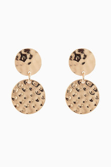 Next Gold Tone Hammered Drop Earrings - 213696