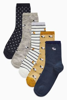 Next Navy/Yellow Animal Pattern Ankle Socks Five Pack