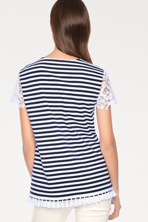 Heine Lace and Tassel Striped Tee