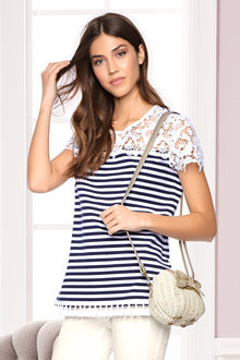 Heine Lace and Tassel Striped Tee - 213895