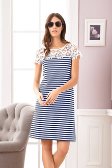 Heine Lace Detail Striped Dress - 213931