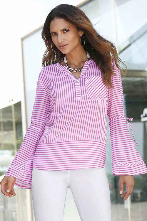 Euro Edit Notch Neck Striped Top