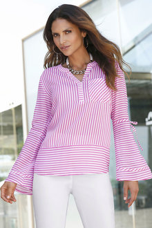 Euro Edit Notch Neck Striped Top - 213932
