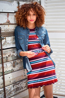 Urban Striped Tee Dress - 213933