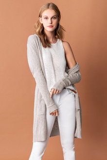 Emerge Cotton Blend Long Cardigan
