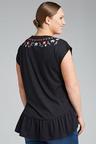 Plus Size - Sara Embroidery Peplum tee