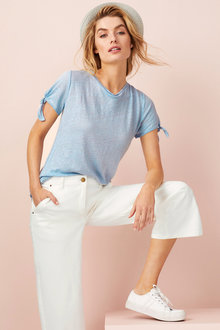 Capture Tie Sleeve Linen Tee - 214094