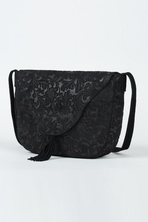 Black Textured Saddle Bag