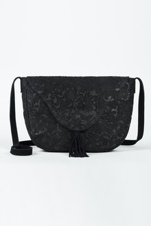 Black Textured Saddle Bag