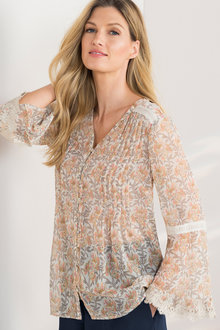 Grace Hill Lace Cuff Blouse - 214104