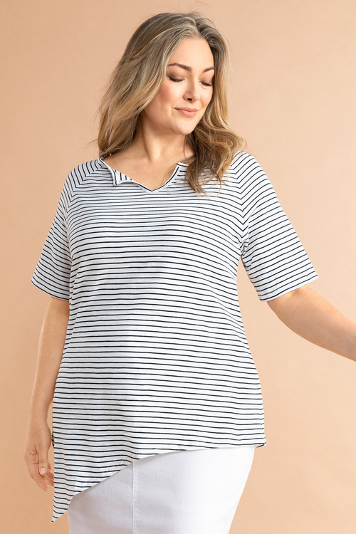 Plus Size - Sara Asymetric Stripe Tee