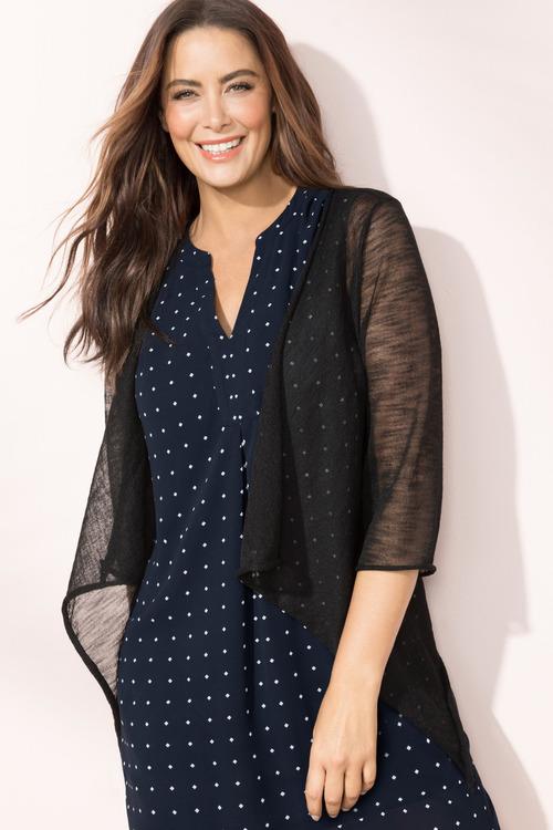 Plus Size - Sara Drape Front Cardi