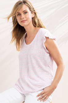 Capture Linen Ruffle Sleeve Tee - 214136