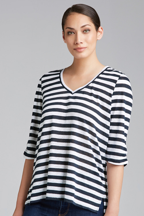 Capture Gather Sleeve Linen V Neck Tee