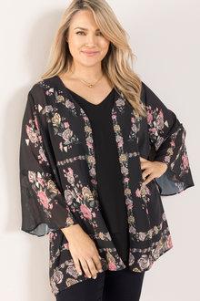 Plus Size - Sara Ruffle Sleeve Kimono