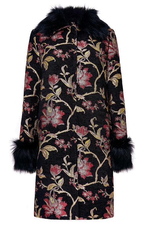 Together Faux Fur Trim Jacquard Coat