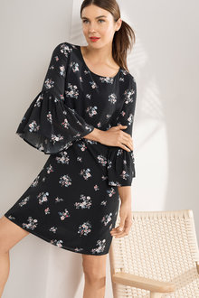 Capture Ruffle Sleeve Shift Dress
