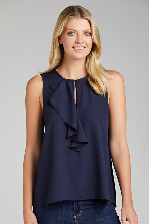 Capture Georgette Ruffle Front Tank