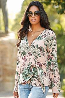 Urban Floral Wrap Front Blouse - 214213